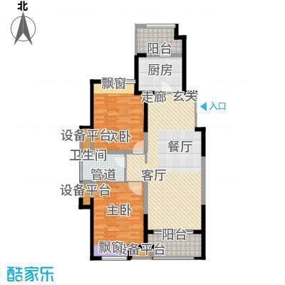 嘉实上城名都105.00㎡南区1幢195、196单元C布局设计图2室户型