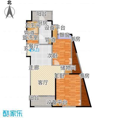嘉实上城名都96.00㎡南区1幢195、196单元B布局设计图2室户型