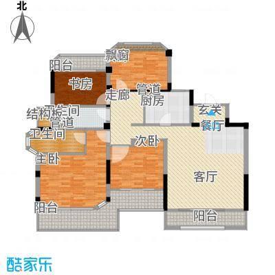 金地松江艺境138.00㎡洋房A2二层平面图户型