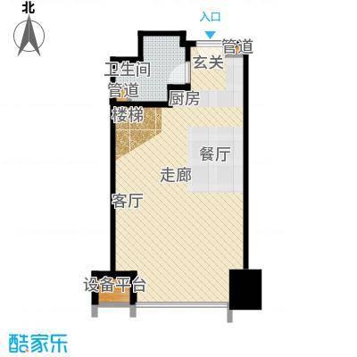 亚太广场二期50.00㎡LOFT居住型B平面布置图户型