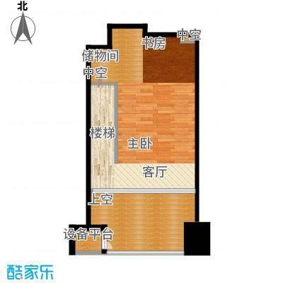 亚太广场二期50.00㎡LOFT居住型9B平面布置图户型