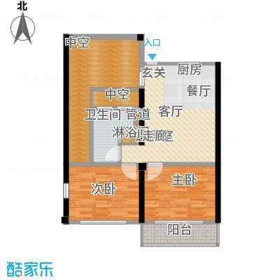 世茂怒放海76.73㎡6层海子洋房(三层)D1-F户型