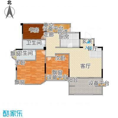 金地松江艺境113.00㎡洋房A4四层平面图户型