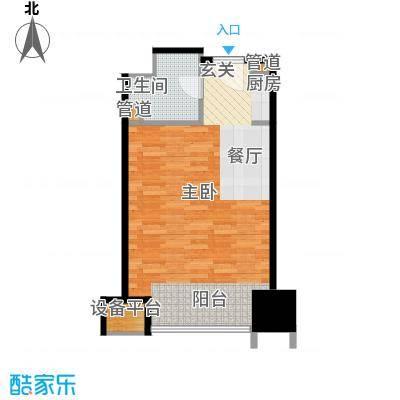 亚太广场二期50.00㎡住宅布置平面图户型