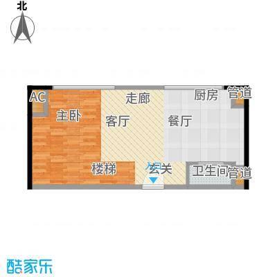 绿地卡米小城53.00㎡LOFT酒店式公寓平面1层户型