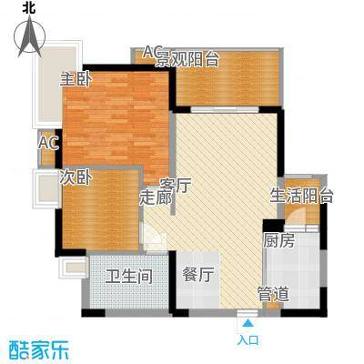华府西苑88.01㎡7栋E型1面积8801m户型