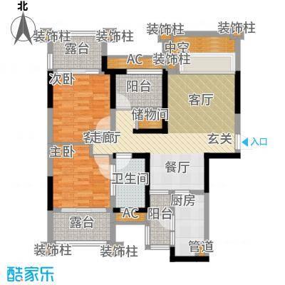 保利香雪86.00㎡1号楼2单元01/0面积8600m户型