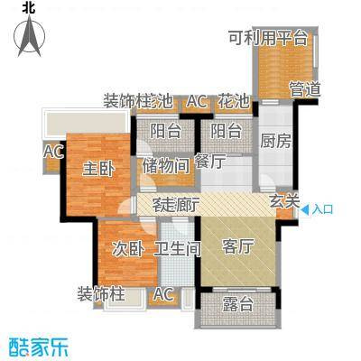 保利香雪88.00㎡2号楼2-1-02面积8800m户型