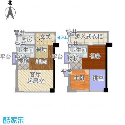 佳兆业城市广场67.00㎡Bsoho平面图户型