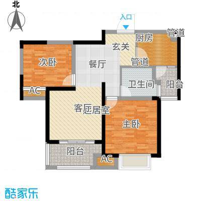 同济城市阳光82.00㎡A2/B2平面图户型