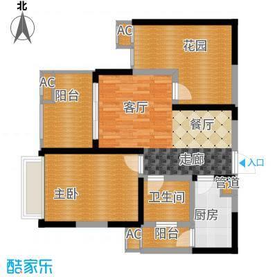 蓝光凯丽香江76.00㎡3-D3型偶数面积7600m户型