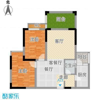 楠香山91.56㎡三期7号楼标准层C面积9156m户型