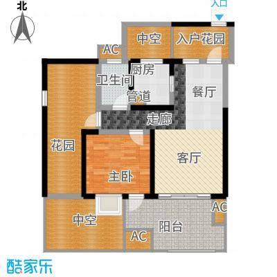 蓝光凯丽香江76.00㎡3-D2'型偶面积7600m户型