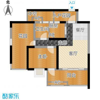 蓝光凯丽香江76.00㎡3-D2型偶数面积7600m户型