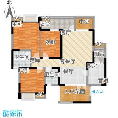 华润凤凰城118.70㎡3号楼X1型偶数层户型