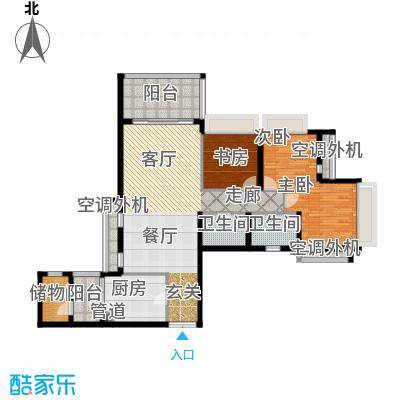 时代晶科名苑136.00㎡第五、七座面积13600m户型