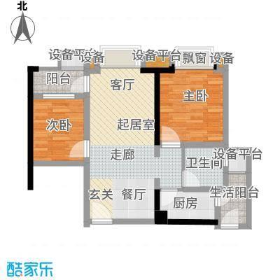 誉峰80.00㎡二期14号楼标准层A3户型