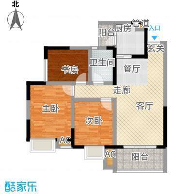 香榭国际88.56㎡一期3、4、5号楼标准层B3户型