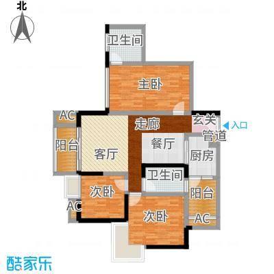 香榭国际87.27㎡2期3栋标准层A1户型