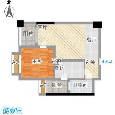 枫丹国际公寓67.00㎡一期1、2号楼标准层A3户型