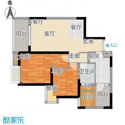 华润凤凰城89.04㎡3号楼D型偶数层户型