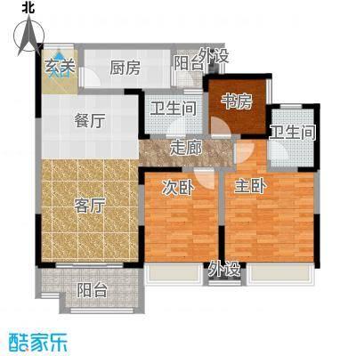 领馆国际城100.03㎡一期1号楼标准层C3户型