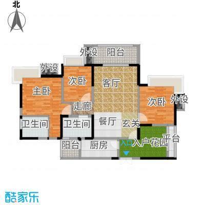 领馆国际城115.79㎡一期1号楼标准层C5户型