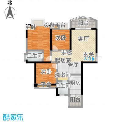 天邑宏御花园83.00㎡一期3-4号楼标准层H2户型