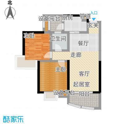 天邑宏御花园83.00㎡一期3-4号楼标准层h1户型