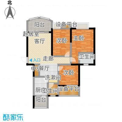 天邑宏御花园116.00㎡一期3-4号楼标准层h4户型