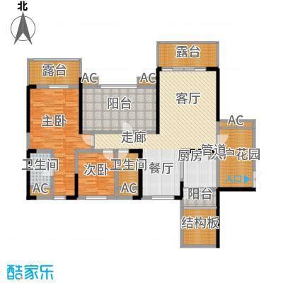 保利星座130.00㎡三期14号楼标准层7-1-04户型