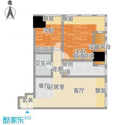 天津富力中心92.47㎡高层标准层中区01户型