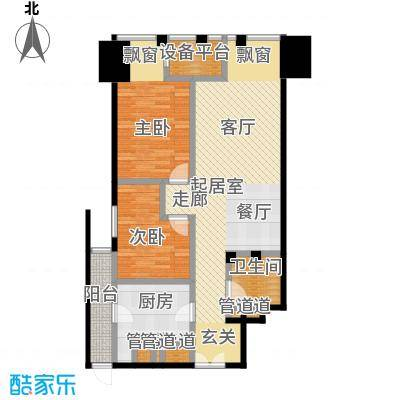 天津富力中心93.13㎡高层标准层中区02户型
