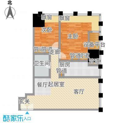 天津富力中心92.40㎡高层标准层低区01户型
