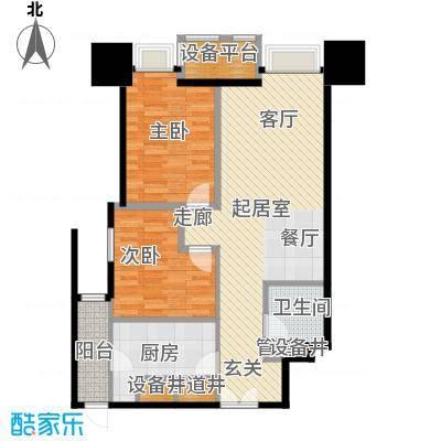 天津富力中心93.13㎡高层标准层低区02户型