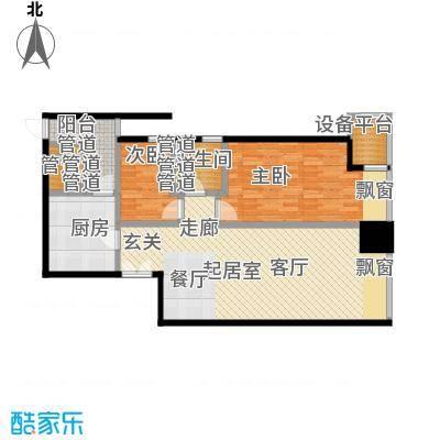 天津富力中心93.43㎡高层标准层低区2-10户型