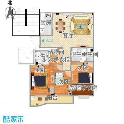 方案2厨房竖向_3室3卫一厅_南湖自住小区