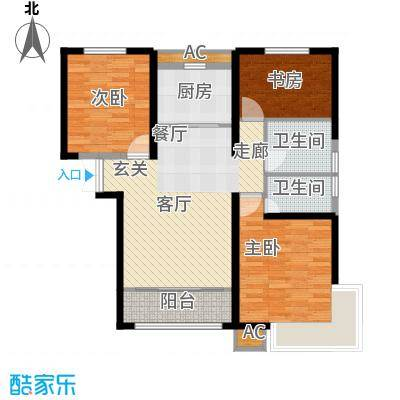 经纬城市绿洲武清119.00㎡一期高层15号楼标准层C2户型