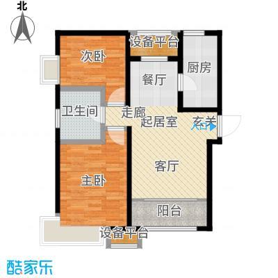 京能海与城89.00㎡高层标准层通透户型