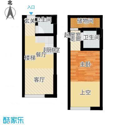 天津东方环球影城48.36㎡loft标准层B户型