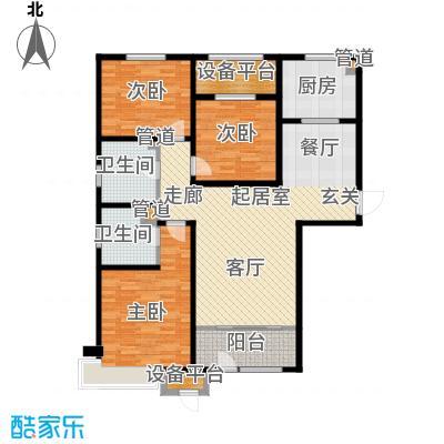 京能海与城126.00㎡高层标准层通透户型