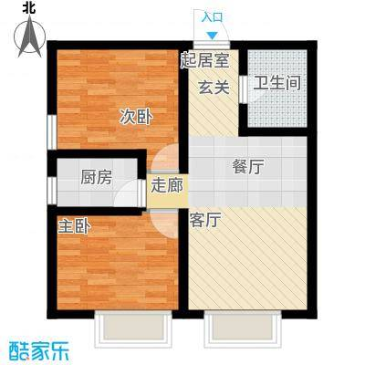 天津东方环球影城57.68㎡精装公寓标准层C户型