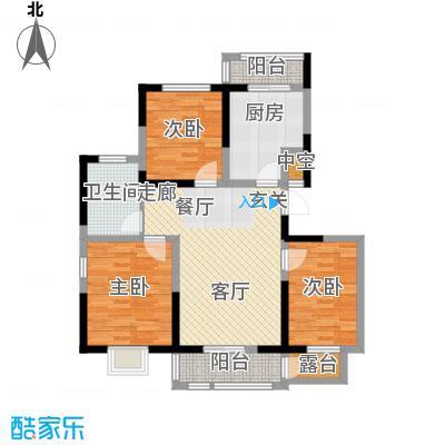 大地12城109.69㎡一期16、17号楼标准层B户型
