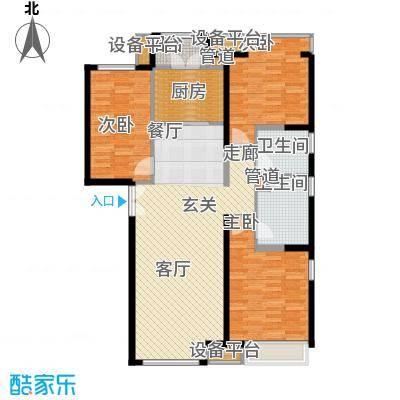 泰达城河与海143.00㎡二期5#楼标准层三居户型