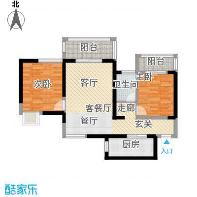 翡丽城84.73㎡2#3单元1楼1号2室面积8473m户型