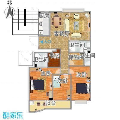 方案4厨房横向_3室3卫一厅_南湖自住小区