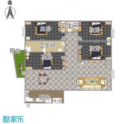 山水熙园1-1401户型图
