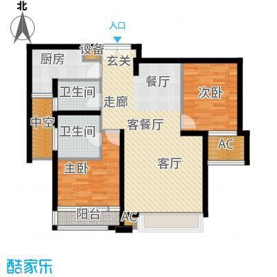 亿城堂庭104.53㎡6#、7#、12#标准层B户型
