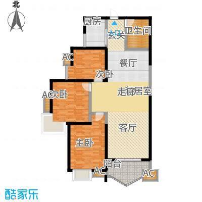 凤城三号123.70㎡2-B标准层户面积12370m户型