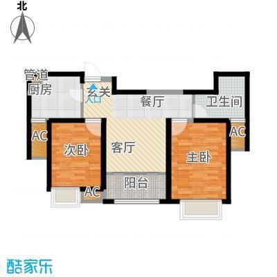 经纬城市绿洲武清88.00㎡一期高层6、16、17号楼标准层D1户型